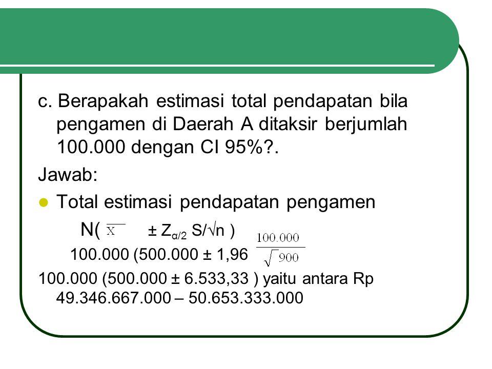 c. Berapakah estimasi total pendapatan bila pengamen di Daerah A ditaksir berjumlah 100.000 dengan CI 95%?. Jawab: Total estimasi pendapatan pengamen
