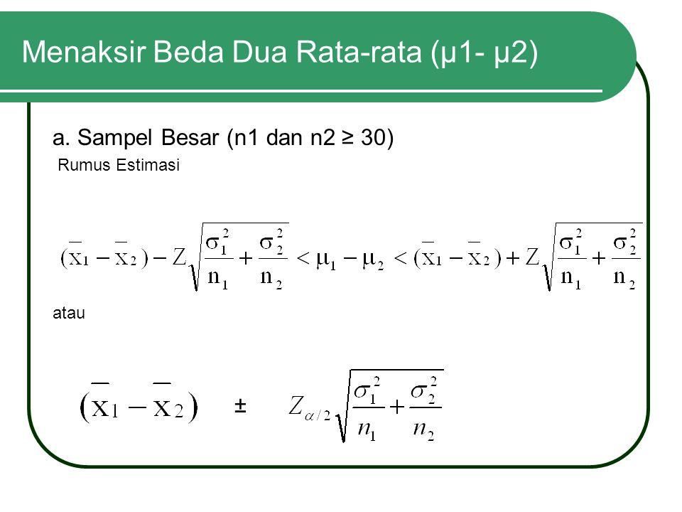 Menaksir Beda Dua Rata-rata (μ1- μ2) a. Sampel Besar (n1 dan n2 ≥ 30) Rumus Estimasi atau ±