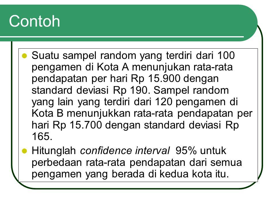 Contoh Suatu sampel random yang terdiri dari 100 pengamen di Kota A menunjukan rata-rata pendapatan per hari Rp 15.900 dengan standard deviasi Rp 190.