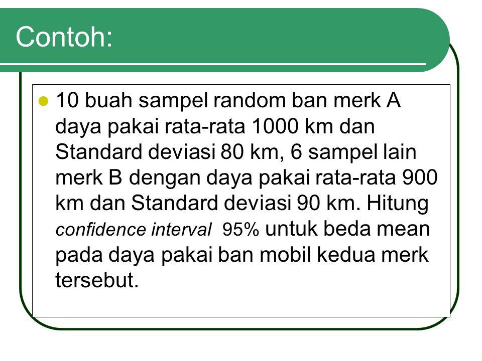Contoh: 10 buah sampel random ban merk A daya pakai rata-rata 1000 km dan Standard deviasi 80 km, 6 sampel lain merk B dengan daya pakai rata-rata 900 km dan Standard deviasi 90 km.