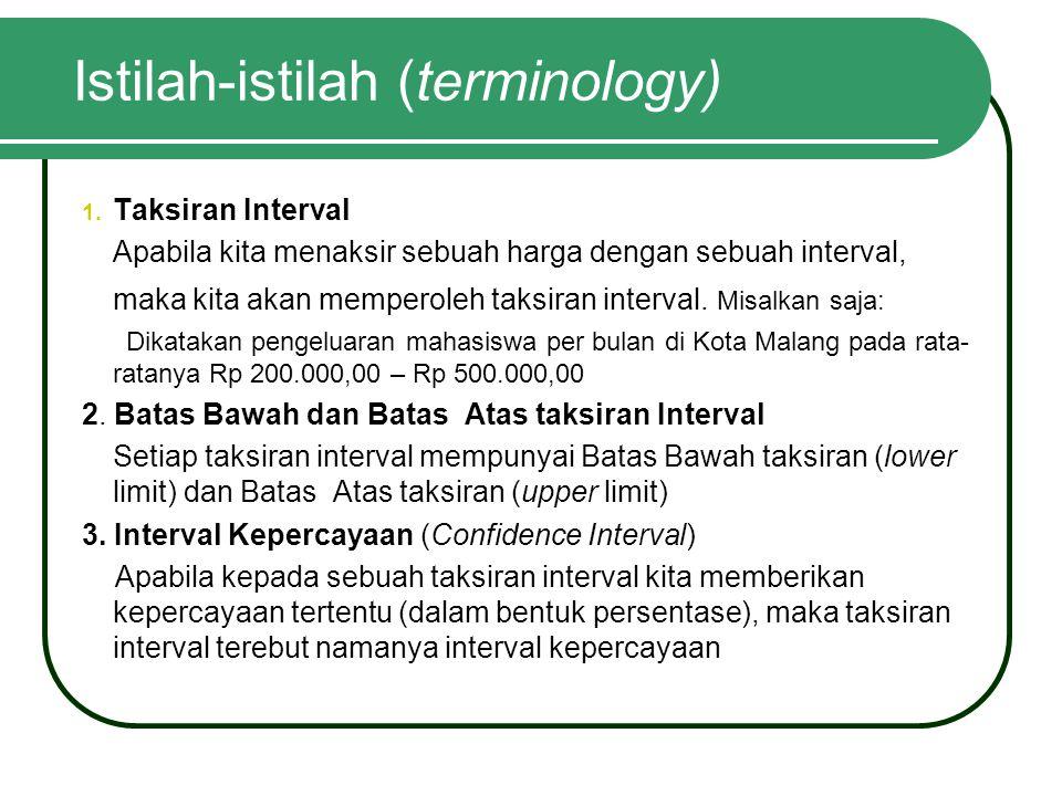 Istilah-istilah (terminology) 1. Taksiran Interval Apabila kita menaksir sebuah harga dengan sebuah interval, maka kita akan memperoleh taksiran inter
