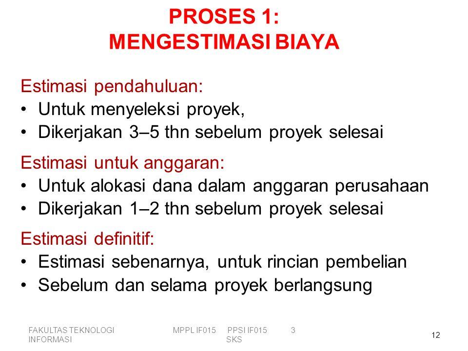 PROSES 1: MENGESTIMASI BIAYA Estimasi pendahuluan: Untuk menyeleksi proyek, Dikerjakan 3–5 thn sebelum proyek selesai Estimasi untuk anggaran: Untuk a