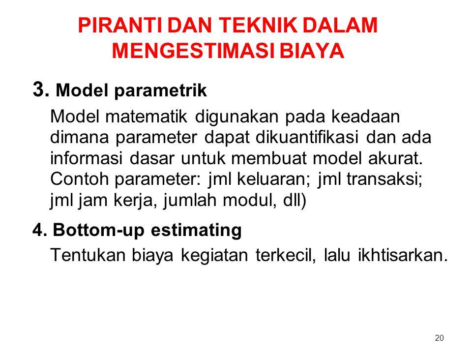 PIRANTI DAN TEKNIK DALAM MENGESTIMASI BIAYA 3. Model parametrik Model matematik digunakan pada keadaan dimana parameter dapat dikuantifikasi dan ada i