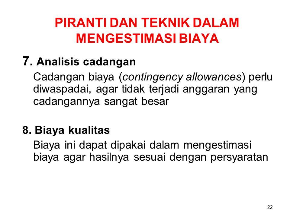 PIRANTI DAN TEKNIK DALAM MENGESTIMASI BIAYA 7. Analisis cadangan Cadangan biaya (contingency allowances) perlu diwaspadai, agar tidak terjadi anggaran