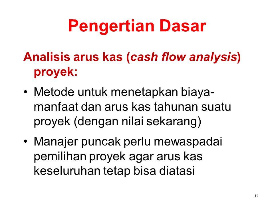 Pengertian Dasar Analisis arus kas (cash flow analysis) proyek: Metode untuk menetapkan biaya- manfaat dan arus kas tahunan suatu proyek (dengan nilai