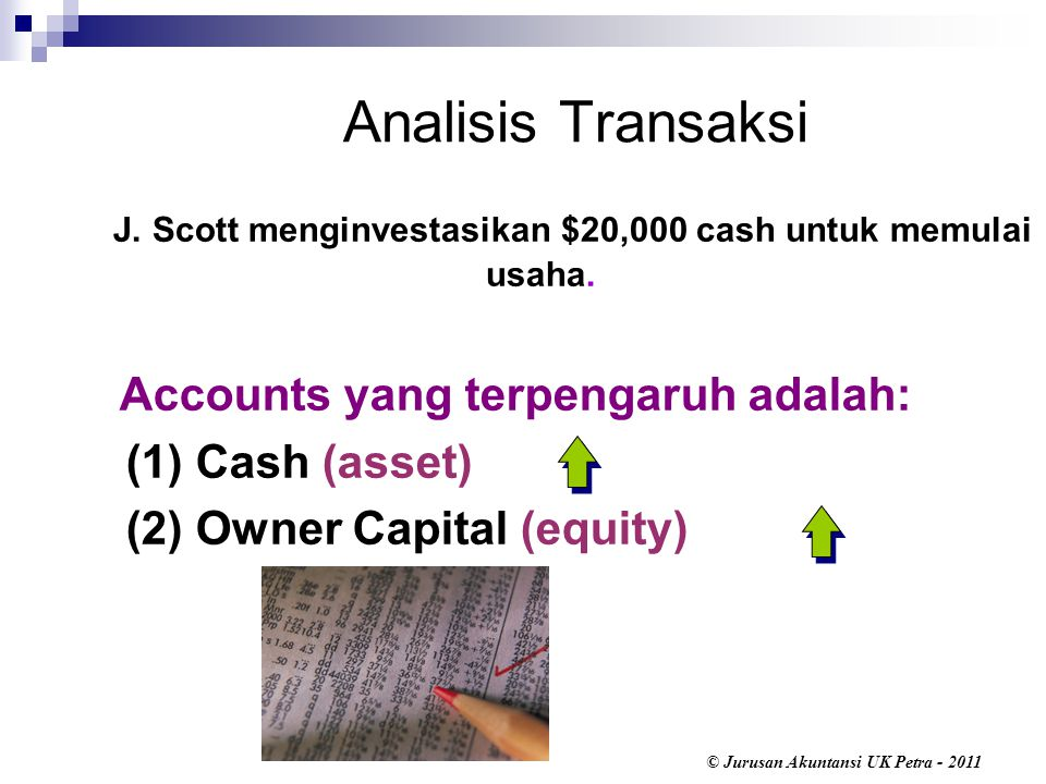© Jurusan Akuntansi UK Petra - 2011 Analisis Transaksi Accounts yang terpengaruh adalah: (1) Cash (asset) (2) Owner Capital (equity) J. Scott menginve