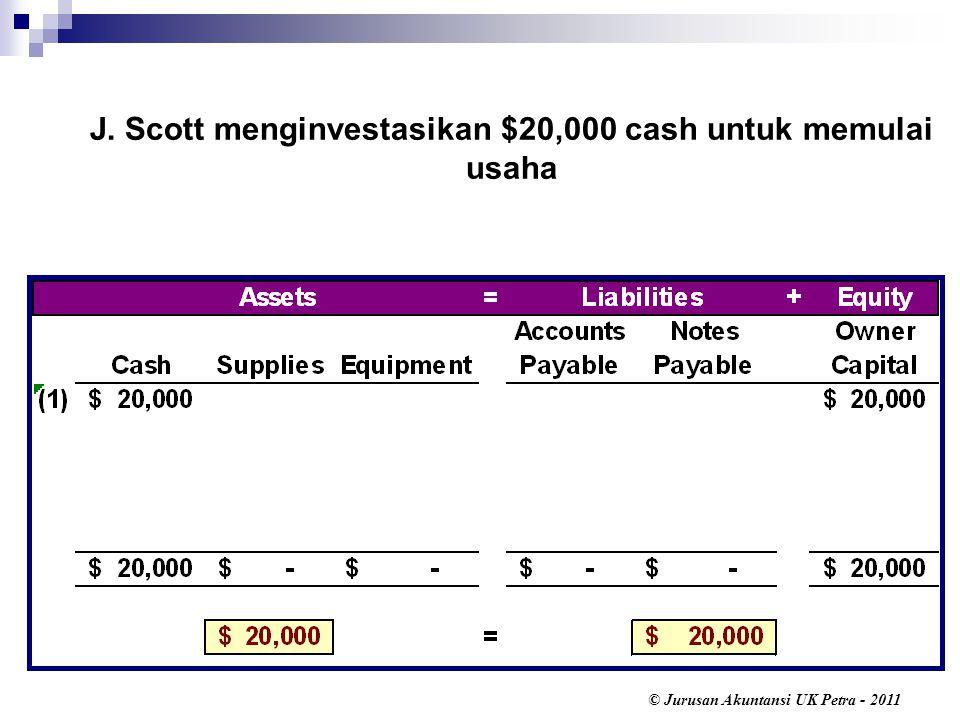 © Jurusan Akuntansi UK Petra - 2011 J. Scott menginvestasikan $20,000 cash untuk memulai usaha