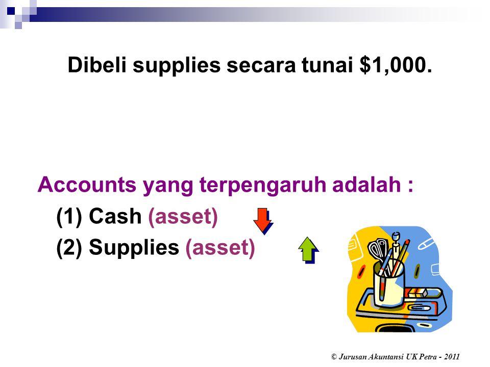© Jurusan Akuntansi UK Petra - 2011 Accounts yang terpengaruh adalah : (1) Cash (asset) (2) Supplies (asset) Dibeli supplies secara tunai $1,000.