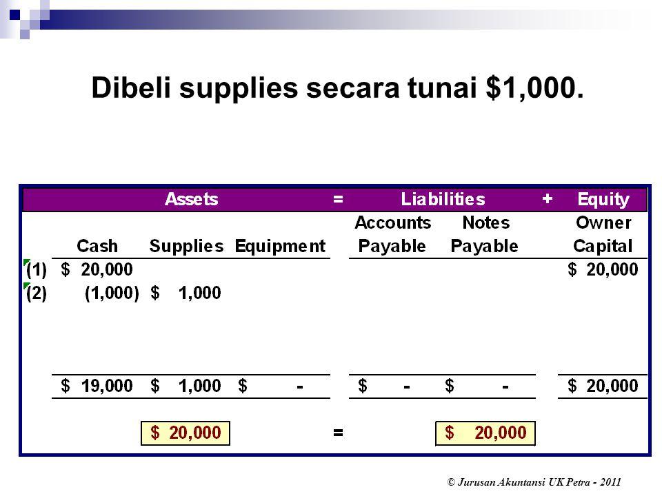 © Jurusan Akuntansi UK Petra - 2011 Dibeli supplies secara tunai $1,000.