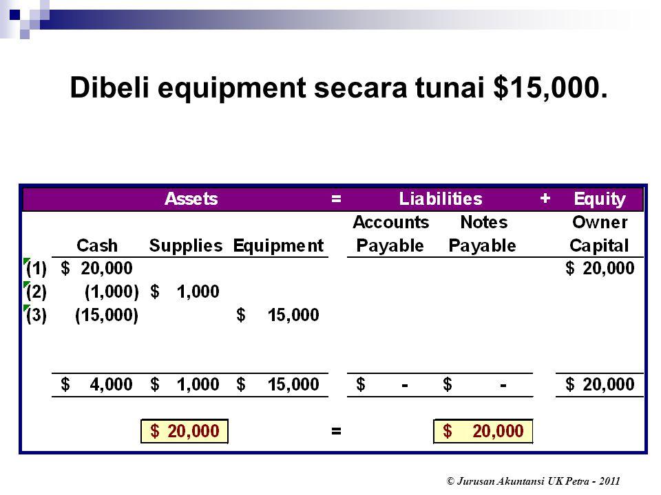 © Jurusan Akuntansi UK Petra - 2011 Dibeli equipment secara tunai $15,000.