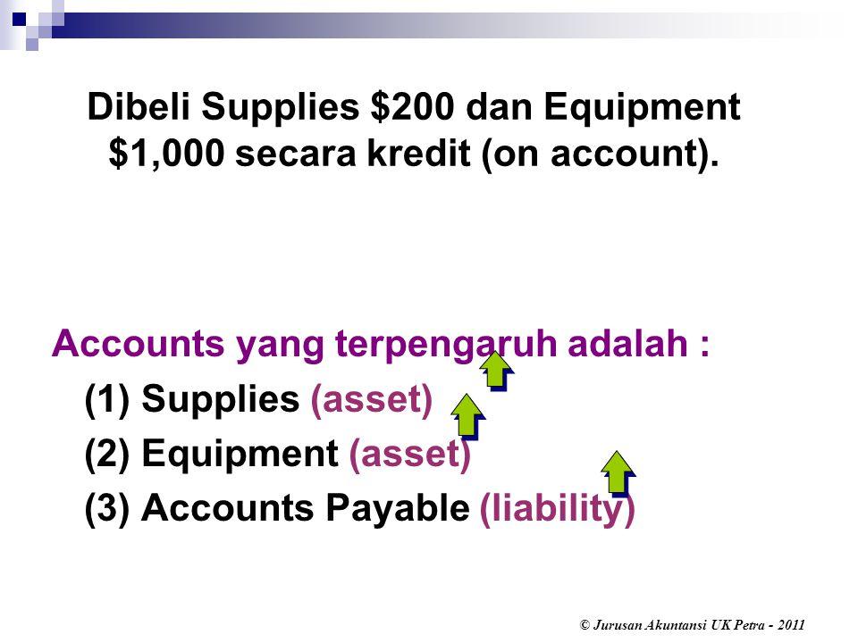 © Jurusan Akuntansi UK Petra - 2011 Accounts yang terpengaruh adalah : (1) Supplies (asset) (2) Equipment (asset) (3) Accounts Payable (liability) Dibeli Supplies $200 dan Equipment $1,000 secara kredit (on account).