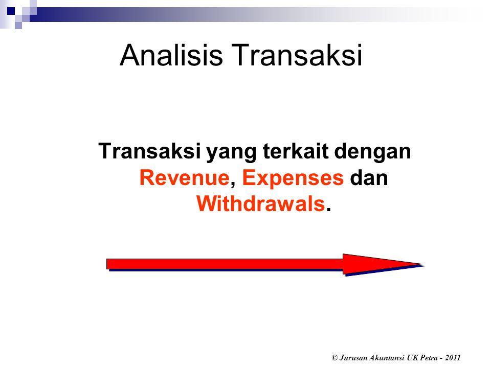 © Jurusan Akuntansi UK Petra - 2011 Analisis Transaksi Transaksi yang terkait dengan Revenue, Expenses dan Withdrawals.
