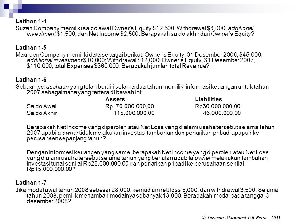 © Jurusan Akuntansi UK Petra - 2011 Latihan 1-4 Suzan Company memiliki saldo awal Owner's Equity $12,500, Withdrawal $3,000, additional investment $1,