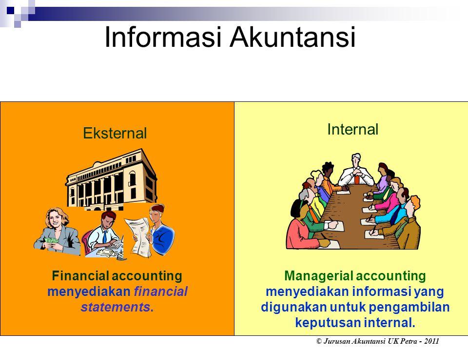 © Jurusan Akuntansi UK Petra - 2011 Accounts yang terpengaruh adalah : (1) Cash (asset) (2) Withdrawals (equity) Pemilik mengambil kas untuk keperluan pribadi (withdrawal) $500.