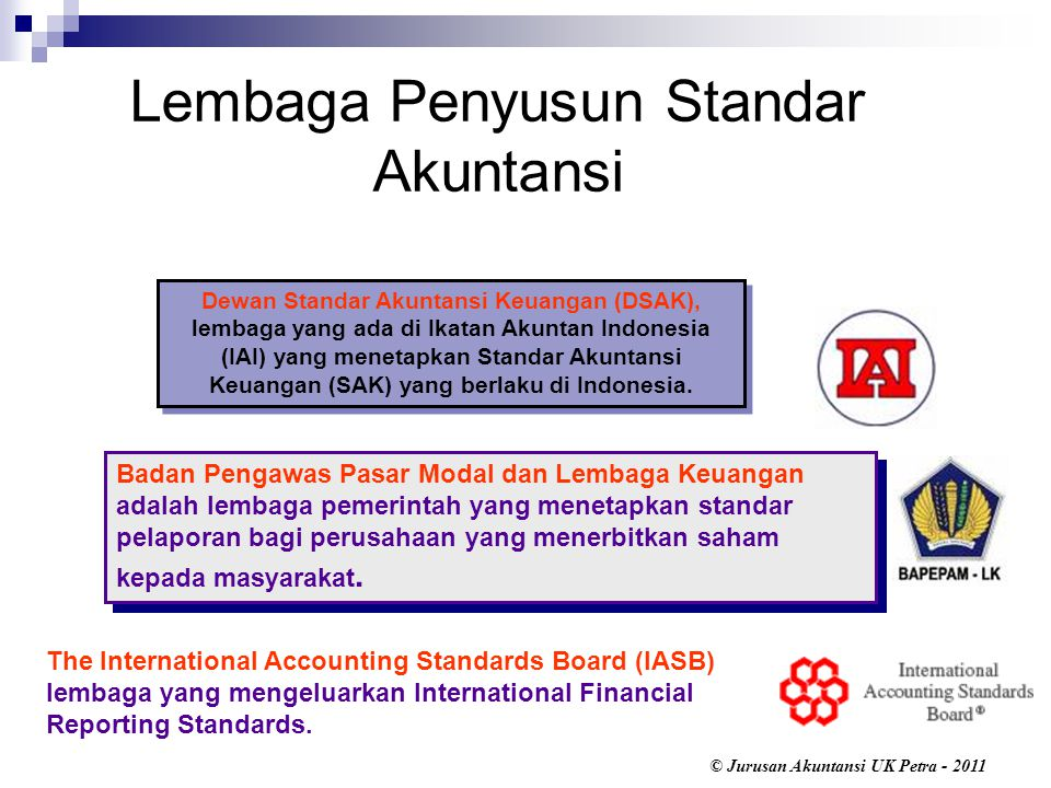 © Jurusan Akuntansi UK Petra - 2011 Badan Pengawas Pasar Modal dan Lembaga Keuangan adalah lembaga pemerintah yang menetapkan standar pelaporan bagi perusahaan yang menerbitkan saham kepada masyarakat.