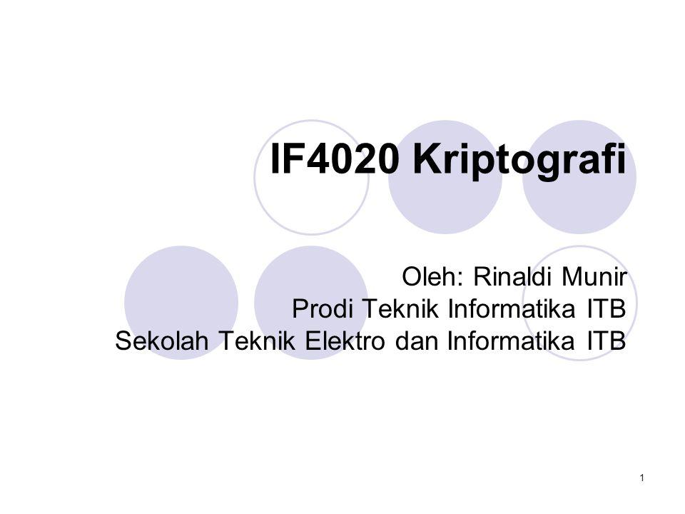 1 IF4020 Kriptografi Oleh: Rinaldi Munir Prodi Teknik Informatika ITB Sekolah Teknik Elektro dan Informatika ITB