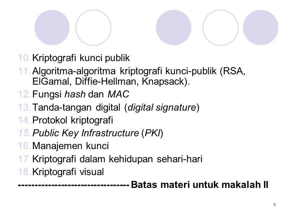 9 10.Kriptografi kunci publik 11.Algoritma-algoritma kriptografi kunci-publik (RSA, ElGamal, Diffie-Hellman, Knapsack). 12.Fungsi hash dan MAC 13.Tand