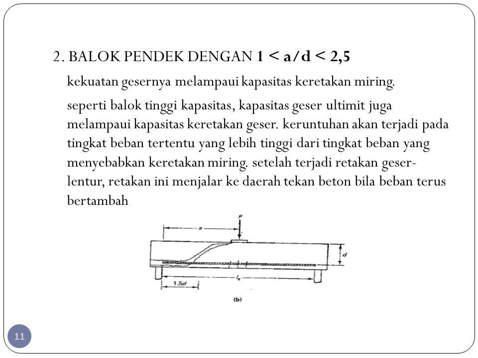 2. BALOK PENDEK DENGAN 1 < a/d < 2,5 kekuatan gesernya melampaui kapasitas keretakan miring. seperti balok tinggi kapasitas, kapasitas geser ultimit j