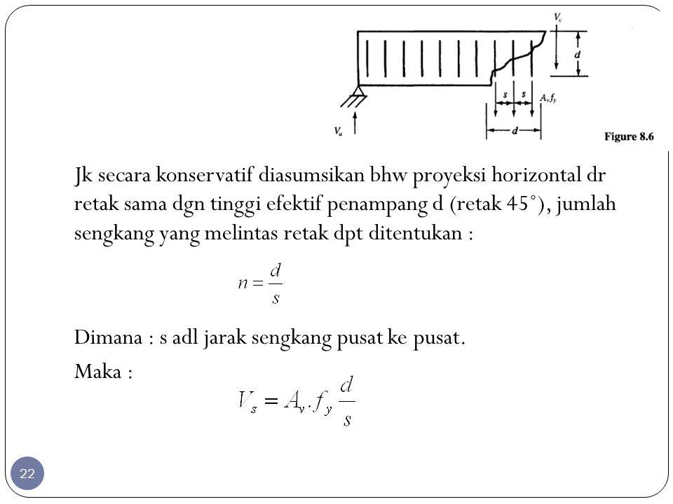Jk secara konservatif diasumsikan bhw proyeksi horizontal dr retak sama dgn tinggi efektif penampang d (retak 45˚), jumlah sengkang yang melintas reta