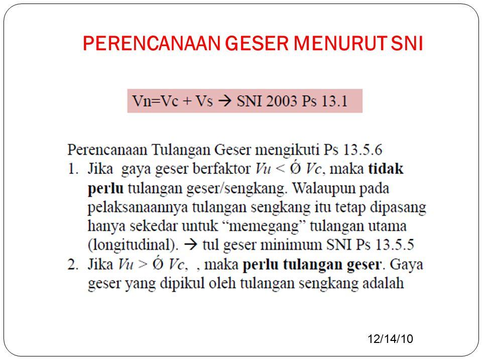 PERENCANAAN GESER MENURUT SNI 12/14/10