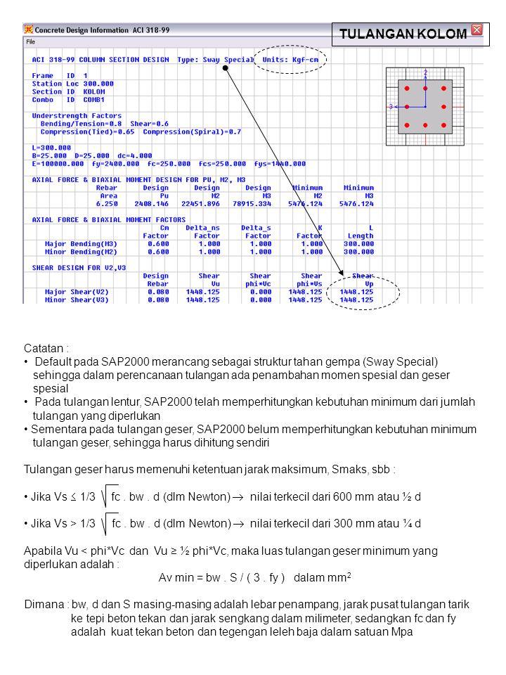 Catatan : Default pada SAP2000 merancang sebagai struktur tahan gempa (Sway Special) sehingga dalam perencanaan tulangan ada penambahan momen spesial