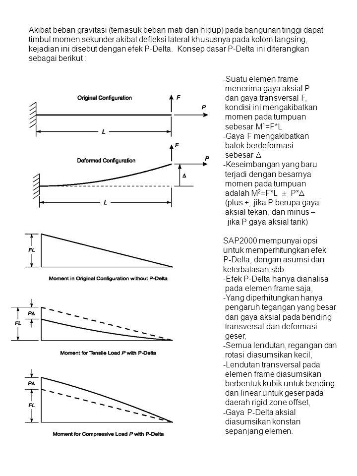 -Suatu elemen frame menerima gaya aksial P dan gaya transversal F, kondisi ini mengakibatkan momen pada tumpuan sebesar M 1 =F*L -Gaya F mengakibatkan balok berdeformasi sebesar  -Keseimbangan yang baru terjadi dengan besarnya momen pada tumpuan adalah M 2 =F*L ± P*  (plus +, jika P berupa gaya aksial tekan, dan minus – jika P gaya aksial tarik) SAP2000 mempunyai opsi untuk memperhitungkan efek P-Delta, dengan asumsi dan keterbatasan sbb: -Efek P-Delta hanya dianalisa pada elemen frame saja, -Yang diperhitungkan hanya pengaruh tegangan yang besar dari gaya aksial pada bending transversal dan deformasi geser, -Semua lendutan, regangan dan rotasi diasumsikan kecil, -Lendutan transversal pada elemen frame diasumsikan berbentuk kubik untuk bending dan linear untuk geser pada daerah rigid zone offset, -Gaya P-Delta aksial diasumsikan konstan sepanjang elemen.