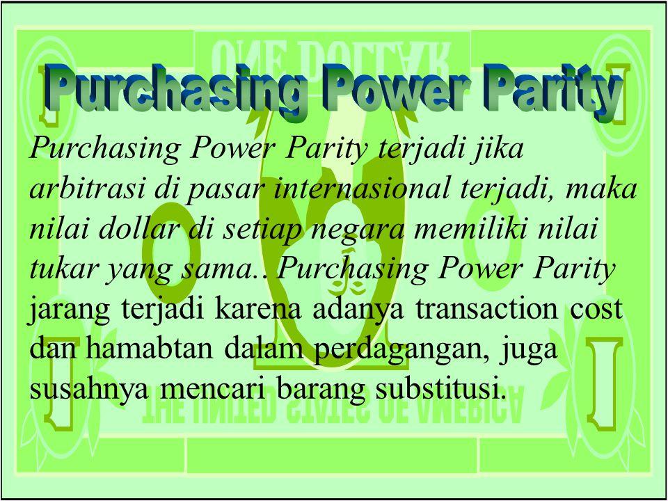 Chapter Five 25 Purchasing Power Parity terjadi jika arbitrasi di pasar internasional terjadi, maka nilai dollar di setiap negara memiliki nilai tukar yang sama..