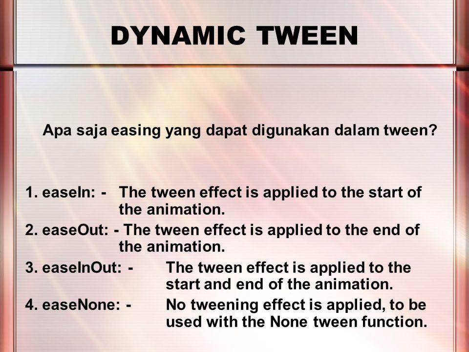 PERTEMUAN 2 DYNAMIC TWEEN Apa saja easing yang dapat digunakan dalam tween.
