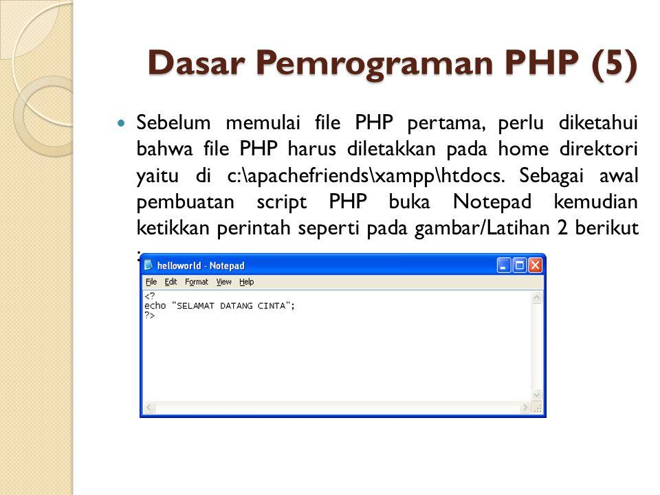 Dasar Pemrograman PHP (5) Sebelum memulai file PHP pertama, perlu diketahui bahwa file PHP harus diletakkan pada home direktori yaitu di c:\apachefrie