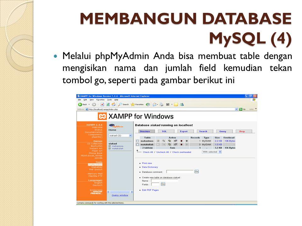 MEMBANGUN DATABASE MySQL (4) Melalui phpMyAdmin Anda bisa membuat table dengan mengisikan nama dan jumlah field kemudian tekan tombol go, seperti pada