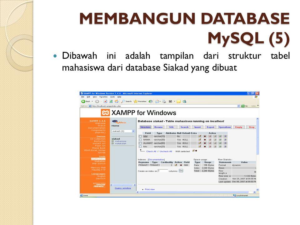MEMBANGUN DATABASE MySQL (5) Dibawah ini adalah tampilan dari struktur tabel mahasiswa dari database Siakad yang dibuat