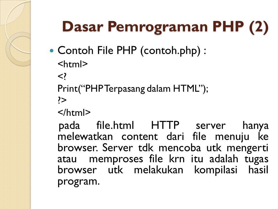 """Dasar Pemrograman PHP (2) Contoh File PHP (contoh.php) : <? Print(""""PHP Terpasang dalam HTML""""); ?> pada file.html HTTP server hanya melewatkan content"""