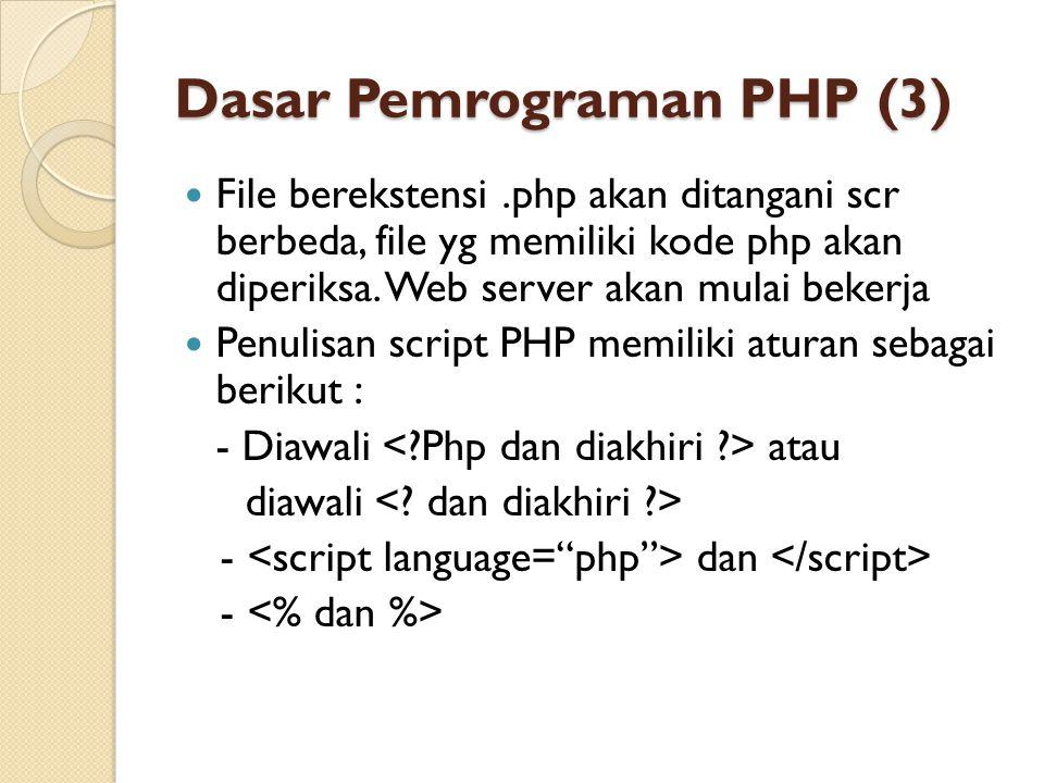 Dasar Pemrograman PHP (3) File berekstensi.php akan ditangani scr berbeda, file yg memiliki kode php akan diperiksa. Web server akan mulai bekerja Pen