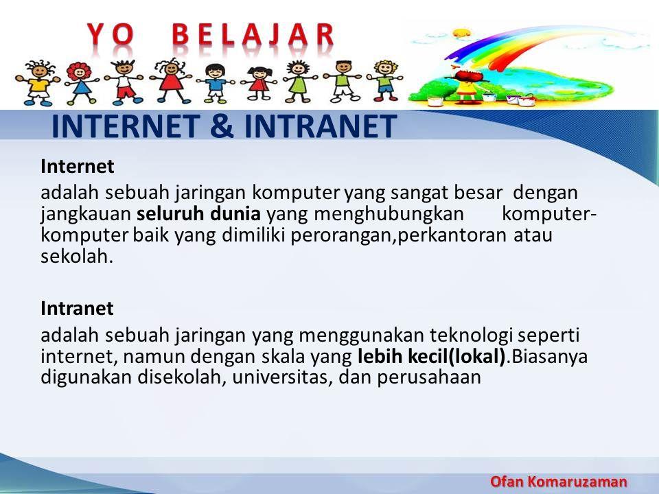 Internet adalah sebuah jaringan komputer yang sangat besar dengan jangkauan seluruh dunia yang menghubungkan komputer- komputer baik yang dimiliki per