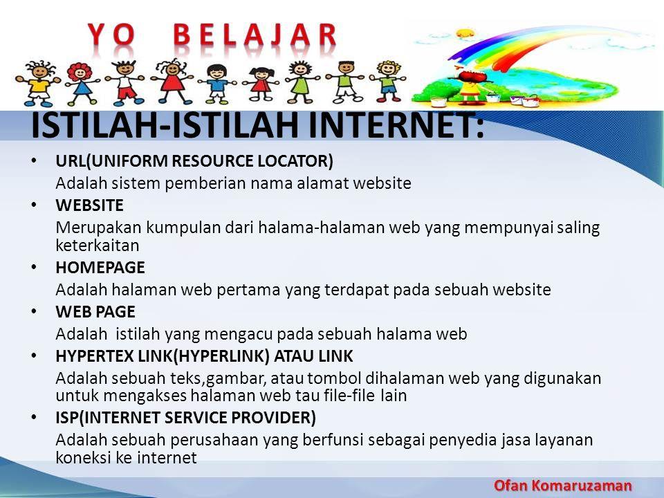 ISTILAH-ISTILAH INTERNET: URL(UNIFORM RESOURCE LOCATOR) Adalah sistem pemberian nama alamat website WEBSITE Merupakan kumpulan dari halama-halaman web