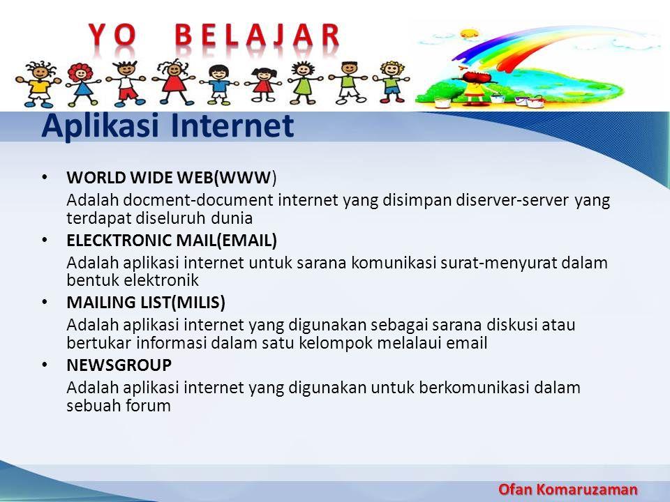 Aplikasi Internet WORLD WIDE WEB(WWW) Adalah docment-document internet yang disimpan diserver-server yang terdapat diseluruh dunia ELECKTRONIC MAIL(EM