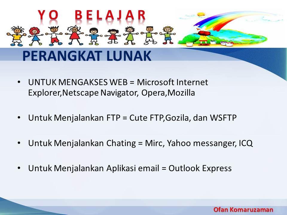 PERANGKAT LUNAK UNTUK MENGAKSES WEB = Microsoft Internet Explorer,Netscape Navigator, Opera,Mozilla Untuk Menjalankan FTP = Cute FTP,Gozila, dan WSFTP