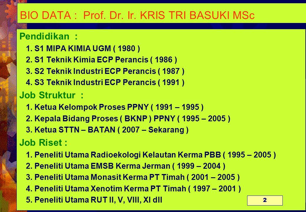 BIO DATA : Prof.Dr. Ir. KRIS TRI BASUKI MSc Pendidikan : 1.