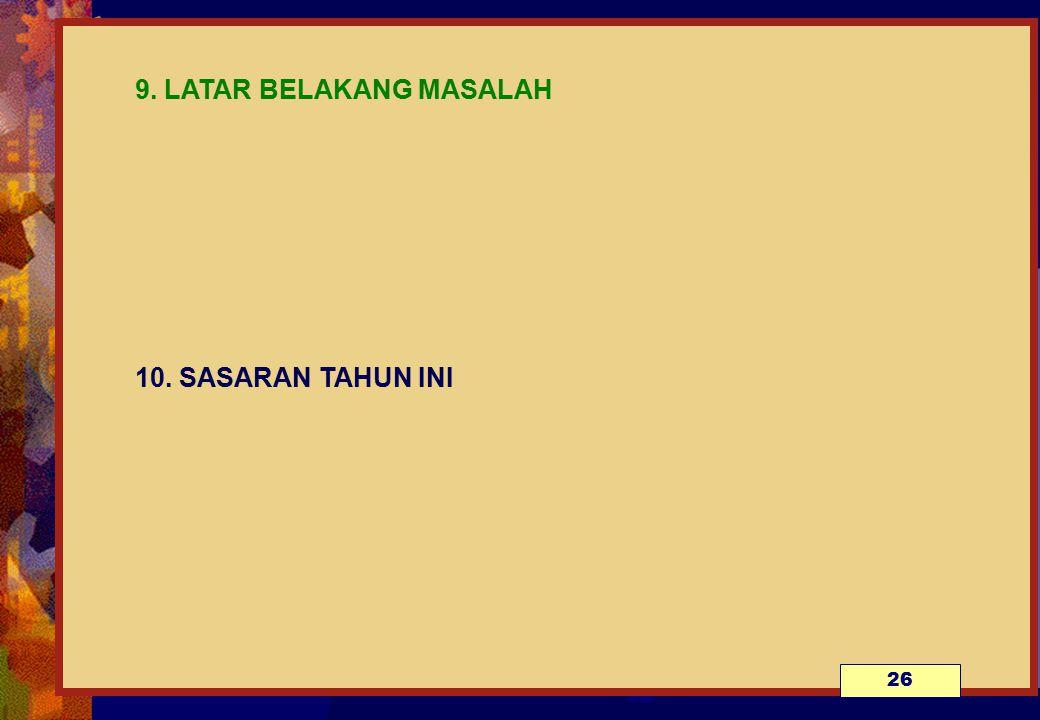 9. LATAR BELAKANG MASALAH 10. SASARAN TAHUN INI 26