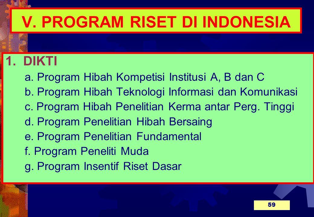 V.PROGRAM RISET DI INDONESIA 1. DIKTI a. Program Hibah Kompetisi Institusi A, B dan C b.