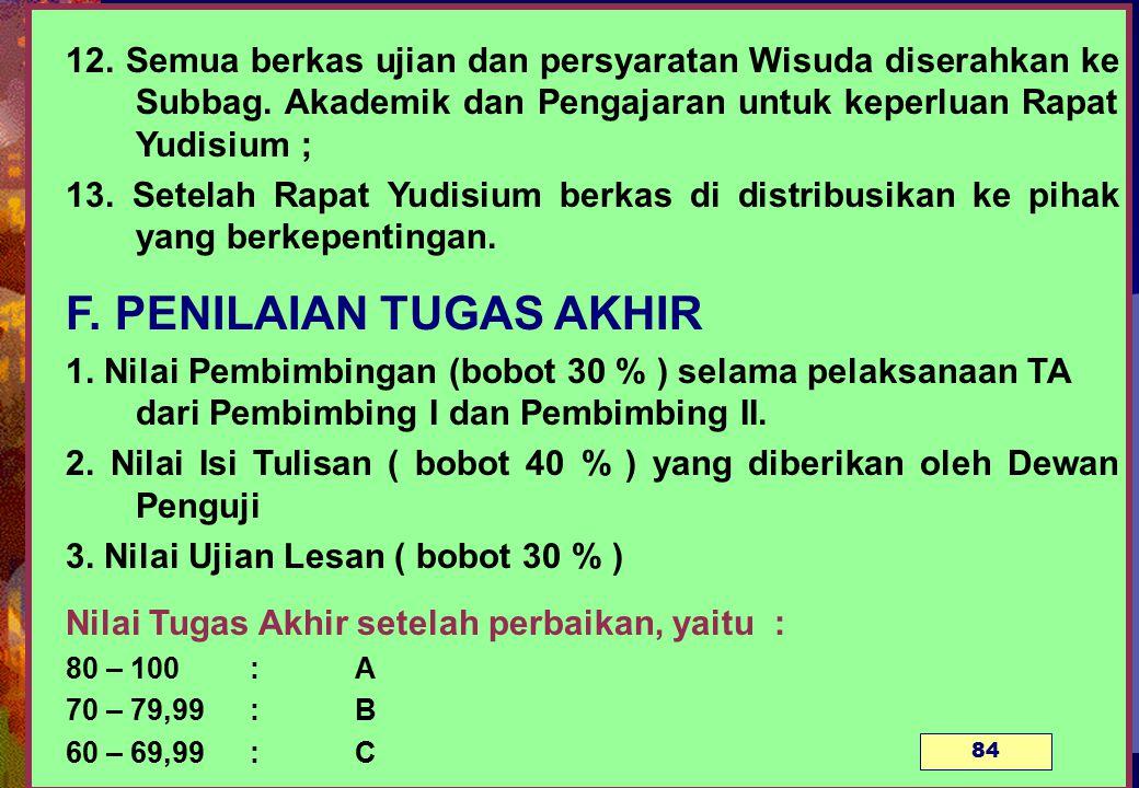 12.Semua berkas ujian dan persyaratan Wisuda diserahkan ke Subbag.