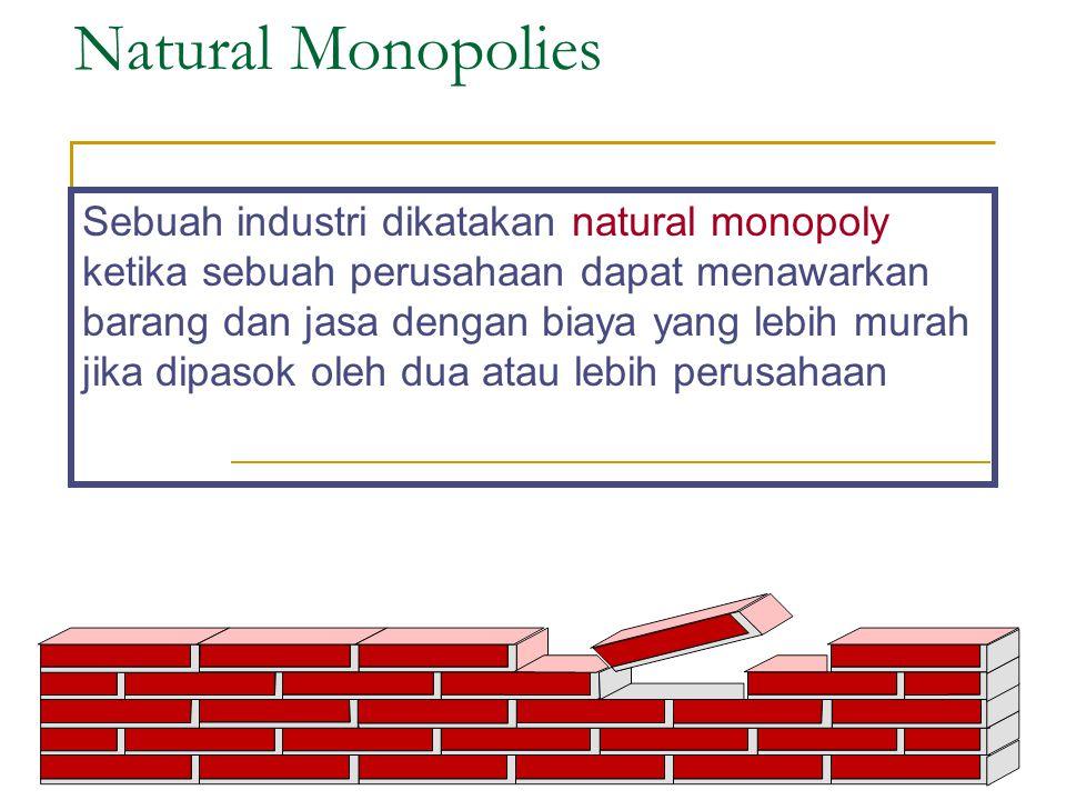 Natural Monopolies Sebuah industri dikatakan natural monopoly ketika sebuah perusahaan dapat menawarkan barang dan jasa dengan biaya yang lebih murah