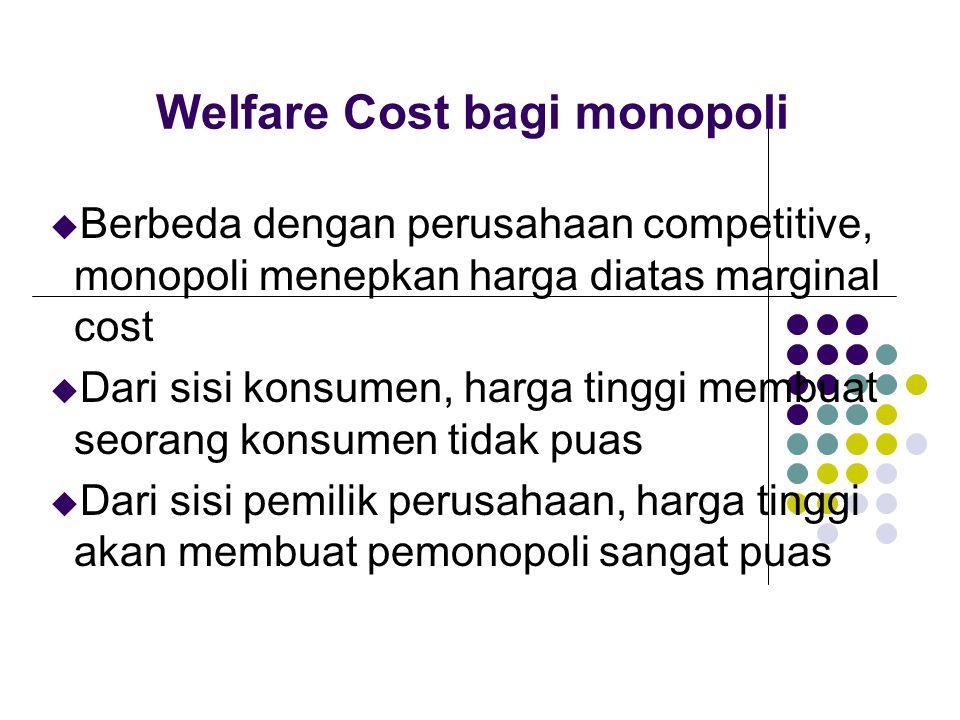 Welfare Cost bagi monopoli u Berbeda dengan perusahaan competitive, monopoli menepkan harga diatas marginal cost u Dari sisi konsumen, harga tinggi me