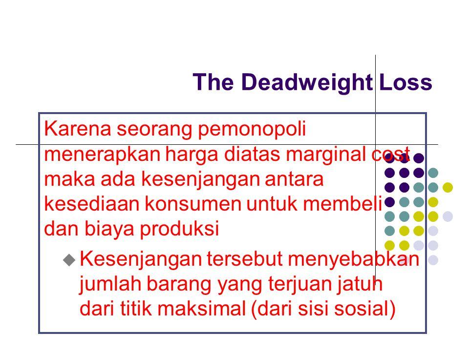The Deadweight Loss Karena seorang pemonopoli menerapkan harga diatas marginal cost maka ada kesenjangan antara kesediaan konsumen untuk membeli dan b