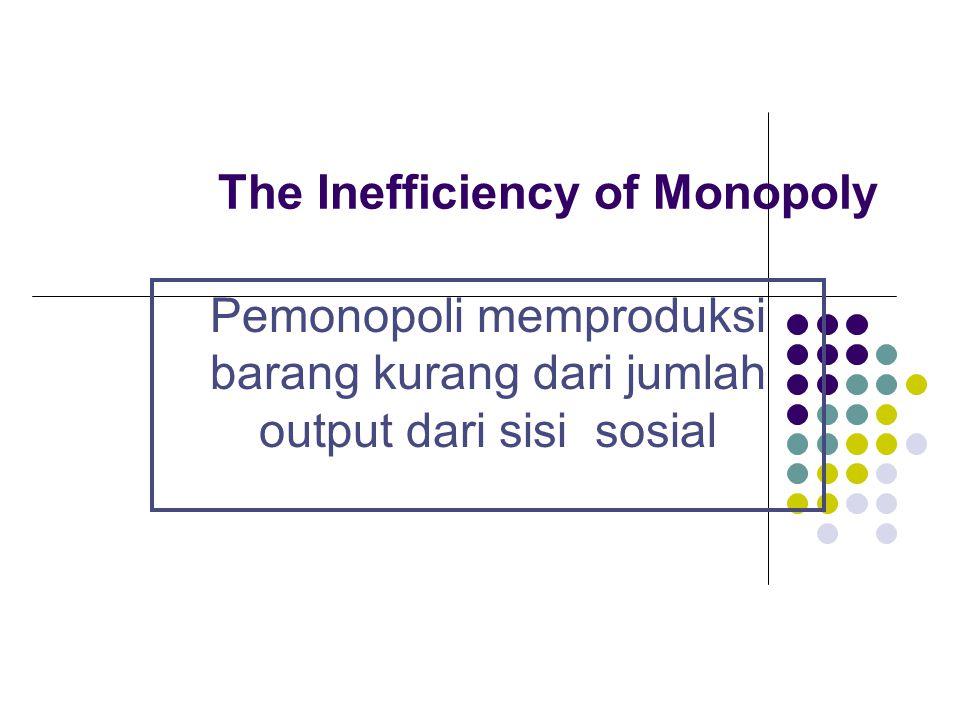 The Inefficiency of Monopoly Pemonopoli memproduksi barang kurang dari jumlah output dari sisi sosial