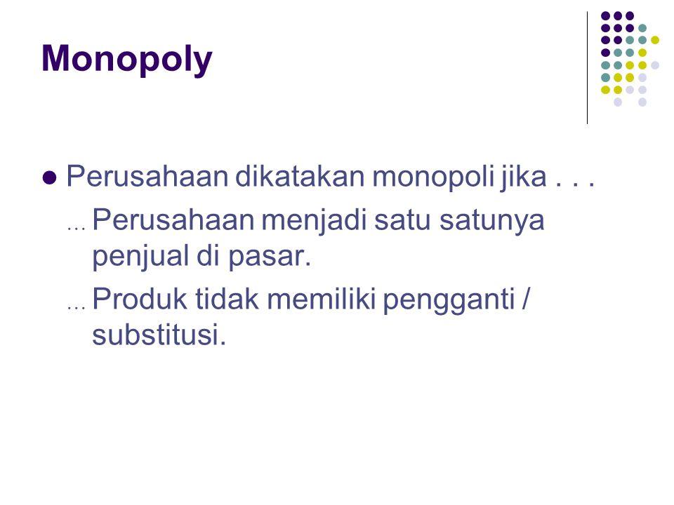 Monopoly Perusahaan dikatakan monopoli jika...  Perusahaan menjadi satu satunya penjual di pasar.  Produk tidak memiliki pengganti / substitusi.