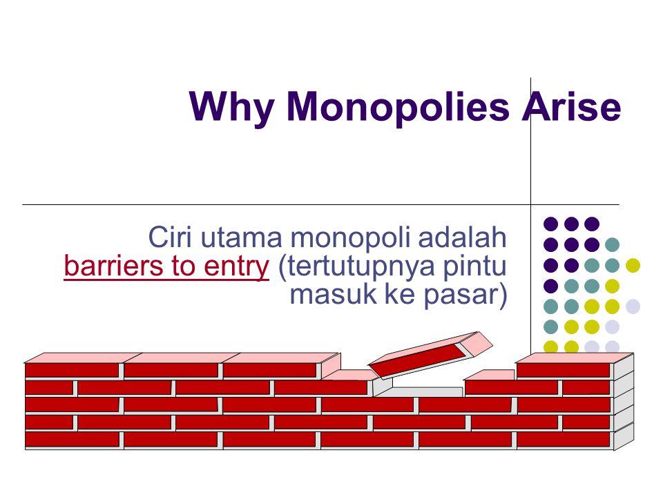 Why Monopolies Arise Ciri utama monopoli adalah barriers to entry (tertutupnya pintu masuk ke pasar)