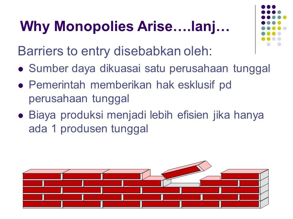 Why Monopolies Arise….lanj… Barriers to entry disebabkan oleh: Sumber daya dikuasai satu perusahaan tunggal Pemerintah memberikan hak esklusif pd peru