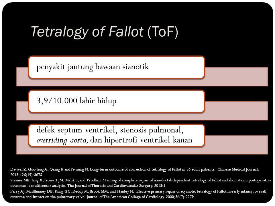Tetralogy of Fallot (ToF) penyakit jantung bawaan sianotik3,9/10.000 lahir hidup defek septum ventrikel, stenosis pulmonal, overriding aorta, dan hipe