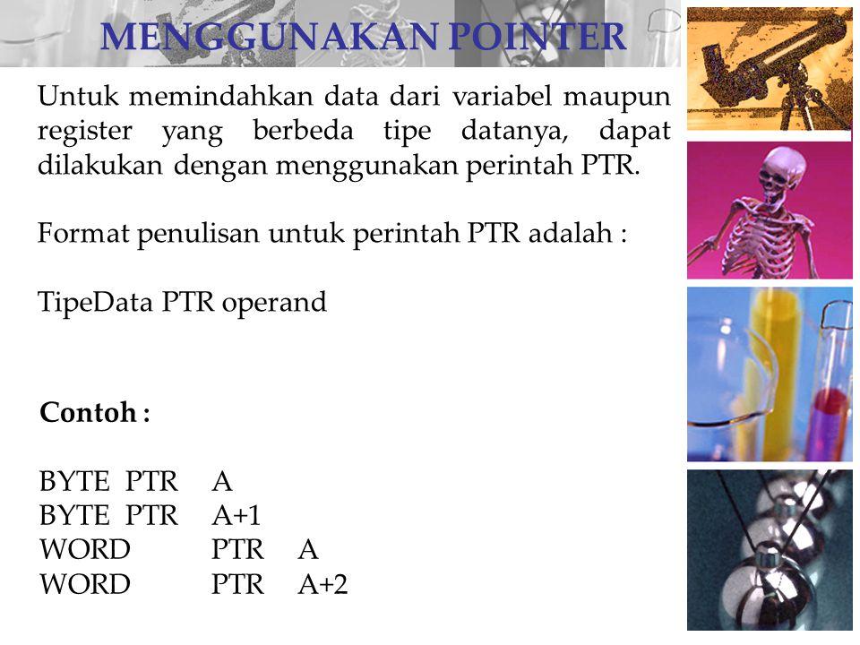 Contoh penggunaan pointer di dalam program.MODEL SMALL.CODE ORG 100H DATA:JMP MULAI ADW01EFH BDW02FEH DDD.